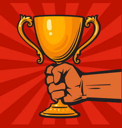 hand holding winners gold cup trophy award vector image