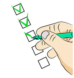 hand with a pen filling the questionnaire vector image