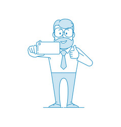 happy man office worker makes selfie showing vector image
