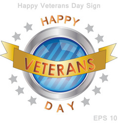 happy veterans day sign and badge vector image