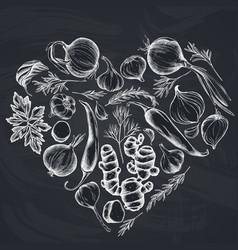 Heart floral design with chalk onion garlic vector