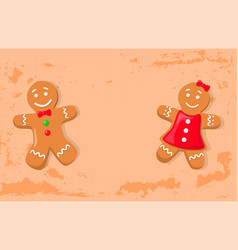 Holly bright gingerbread man and woman vector