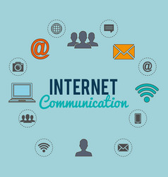 internet connection with social media icons vector image