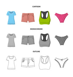isolated object of woman and clothing logo set of vector image