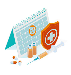 isometric time to vaccinate concept vaccine vector image
