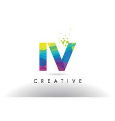 iv i v colorful letter origami triangles design vector image
