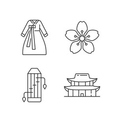 korean ethnic symbols linear icons set vector image