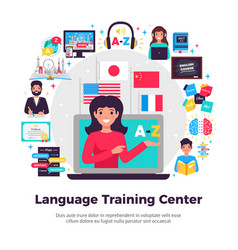 Language training center composition vector