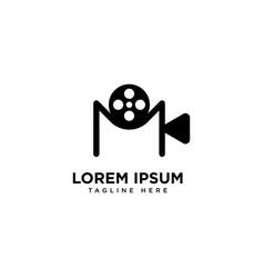 Letter m movie logo design template vector