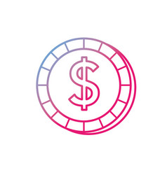 Line economy coin cash money currency vector