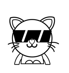 Line happy cat adorable feline animal with vector