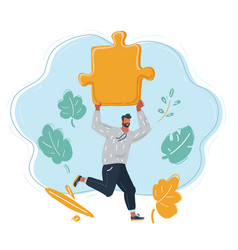 Man run with big puzzle in his hands vector