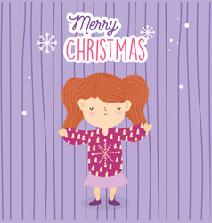merry christmas girl with sweater vector image