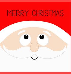 Merry christmas santa claus head face looking up vector