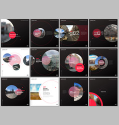 minimal brochure templates with red color circles vector image
