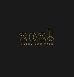 Minimalist concept happy new year 2021 vector