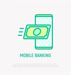 mobile banking banknote flying in smartphone vector image