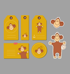 monkey tags template vector image