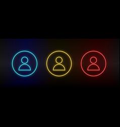 Neon icon set avatar profile set red blue vector