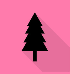 new year tree sign black icon with flat style vector image