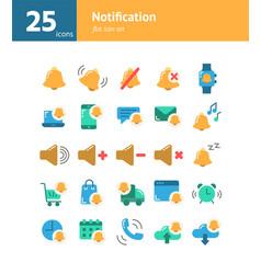 Notification flat icon set vector