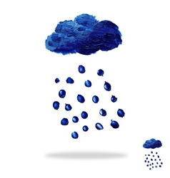 Oil painted cloud with rain drops vector