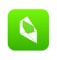 open envelope icon green vector image