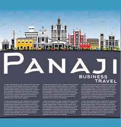 panaji india city skyline with color buildings vector image