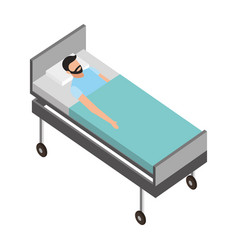 patient in the bed medical healthcare vector image