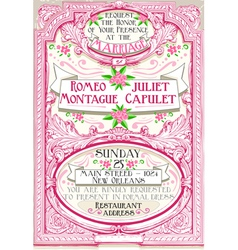 Pink Floral Vintage Wedding Invite vector image