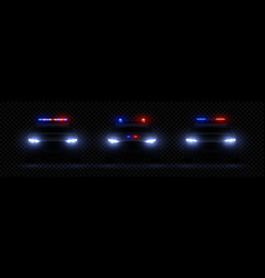 realistic police headlights car glowing led light vector image