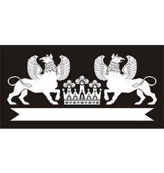 Royal monogram with griffins and crown vector image