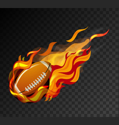 rugby ball with big flame shooting on black vector image