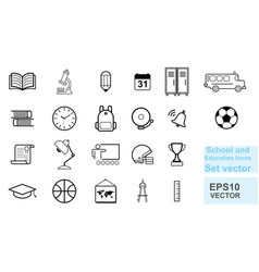 school and education line icons set vector image
