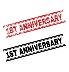 Scratched textured and clean 1st anniversary stamp vector