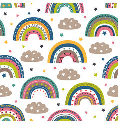 seamless pattern with colorful rainbows and clouds vector image