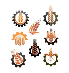 Set icons depicting industry and agriculture vector