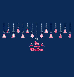 Silhouette paper christmas ornaments hanging vector