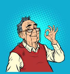 Smile elderly man with glasses okay gesture vector