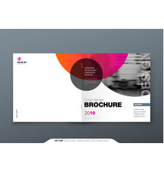 Square brochure design magenta red corporate vector