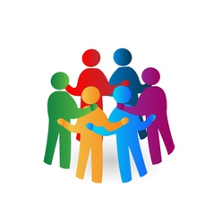 Teamwork meeting people logo vector image