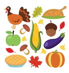Thanksgiving set vector