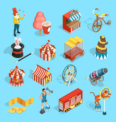 Travel Circus Isometric Icons Set vector image