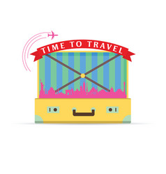 Travel symbol with yellow vintage suitcase vector