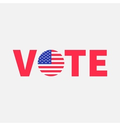 Vote red text Blue badge button icon with American vector