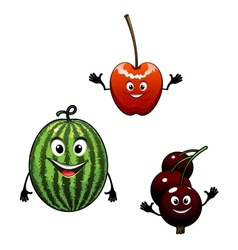 Watermelon currant and cherry cartoon fruits vector image