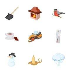 Weather winter icons set cartoon style vector image