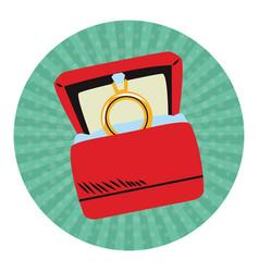 Wedding ring box pop art vector