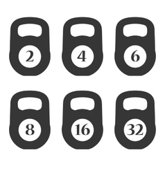Weights Icons with Numpers Set vector