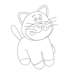 White cartoon cute kitten vector